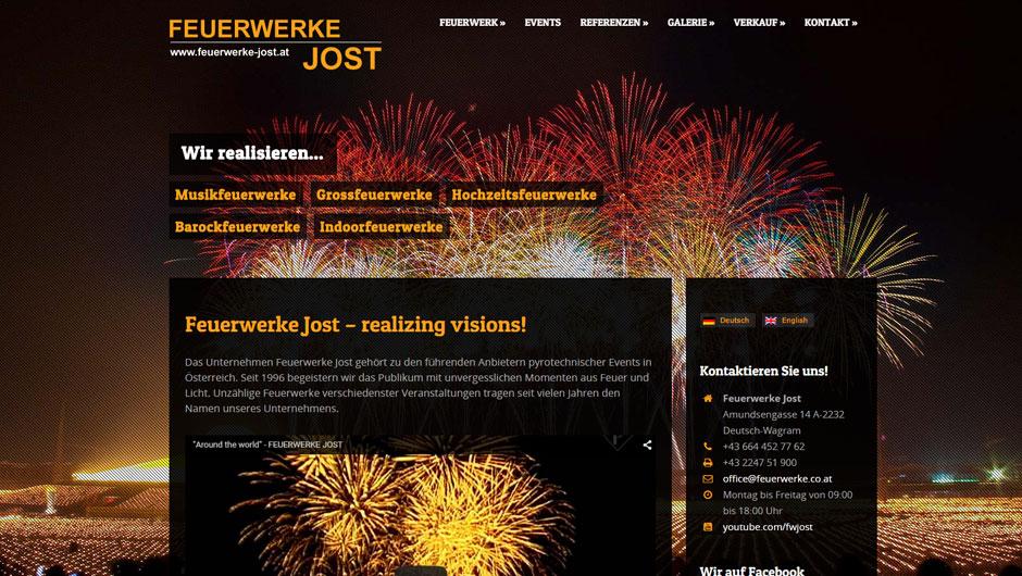 Webdesign für Feuerwerke Jost