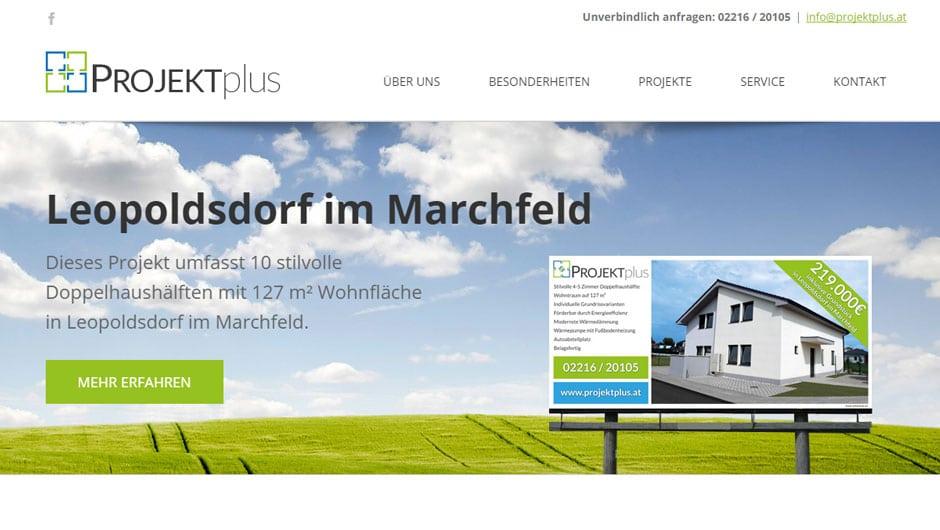 Webdesign für D&P Projekt plus GmbH
