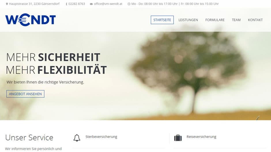 Webdesign für Versicherungsmakler Wendt