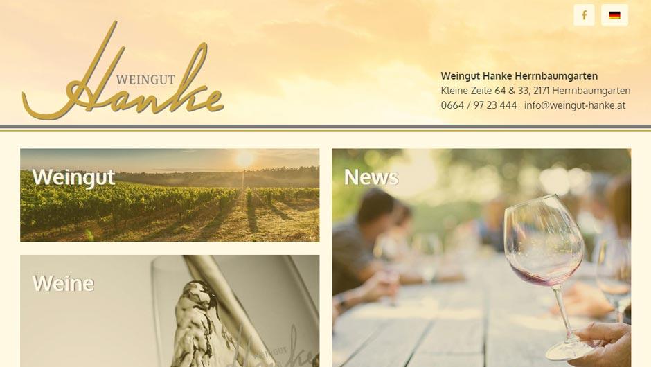 Webdesign für Weingut Hanke