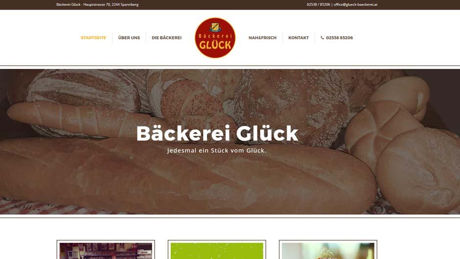 Webdesign für Bäckerei Glück